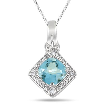 2.25 Carat Cushion Blue Topaz and Diamond Pendant in .925 Sterling Silver