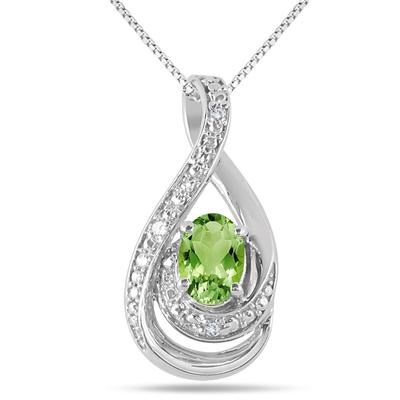 7x5 MM Peridot and Diamond Pendant in .925 Sterling Silver