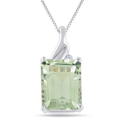 3.90 Carat Green Amethyst and Diamond Pendant in .925 Sterling Silver