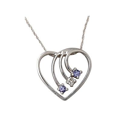 Diamond and Tanzanite Heart Pendant in 14kt White Gold
