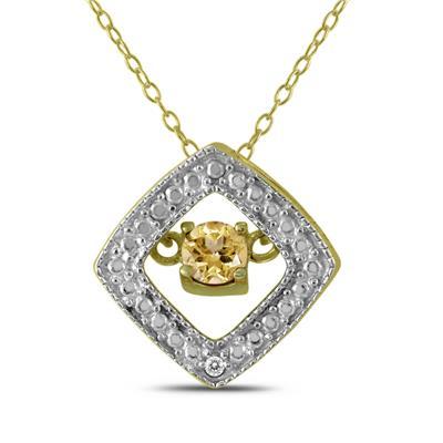 Citrine and Diamond Dancer Pendant in .925 Sterling Silver