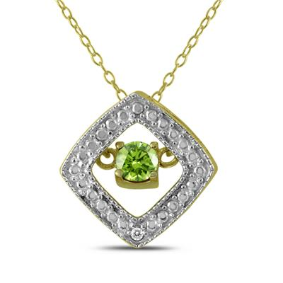 Peridot and Diamond Dancer Pendant in .925 Sterling Silver