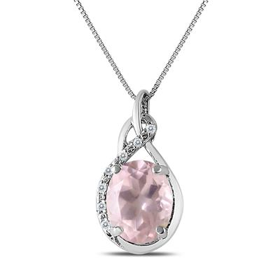 Pink Quartzs and Diamond Pendant in .925 Sterling Silver