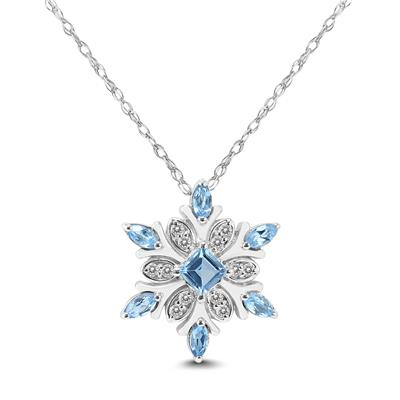 Blue Topaz and White Topaz Snowflake Pendant in .925 Sterling Silver