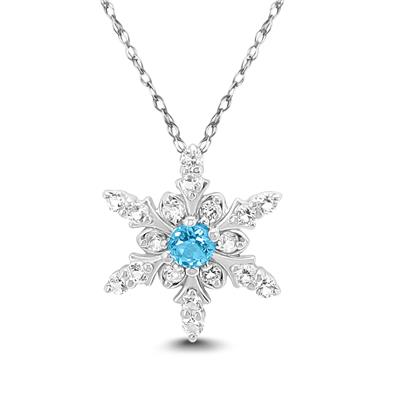 Blue and White Topaz Snowflake Pendant in .925 Sterling Silver