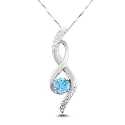 Blue Topaz and White Topaz Infinity Pendant in .925 Sterling Silver