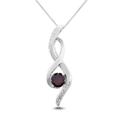 Garnet and White Topaz Infinity Pendant in .925 Sterling Silver