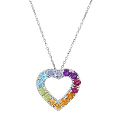 Multi-Colored Natural Gemstone Heart Pendant in .925 Sterling Silver