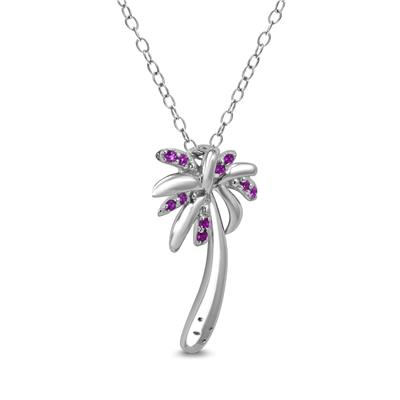 Amethyst Palm Tree Pendant in .925 Sterling Silver