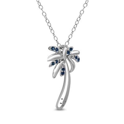 Created Blue Sapphire Palm Tree Pendant in .925 Sterling Silver