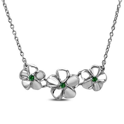 Tsavorite Flower Charm Necklace in .925 Sterling Silver