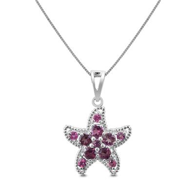 Pink Tourmaline Starfish Pendant in .925 Sterling Silver
