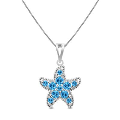 Blue Topaz Starfish Pendant in .925 Sterling Silver