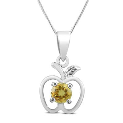 Citrine Apple Pendant in .925 Sterling Silver