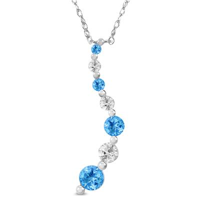 Blue and White Topaz Journey Pendant in .925 Sterling Silver