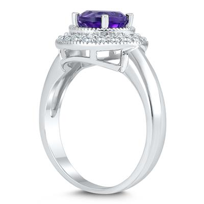 Amethyst and White Topaz Halo Ring in .925 Sterling Silver