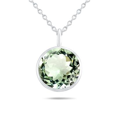 Bezel Set Green Amethyst Pendant Necklace in .925 Sterling Silver