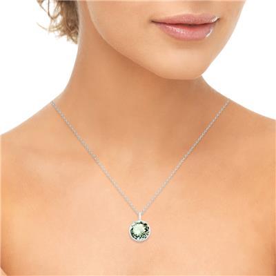 Bezel Set Green Amethyst Pendant Necklace in .925 Sterling Silver