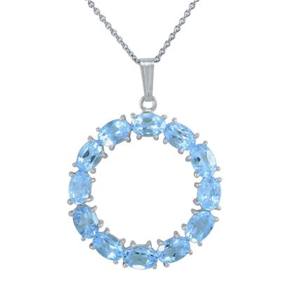 Sky Blue Topaz Oval 6x4 Round Pendant in .925 Sterling Silver