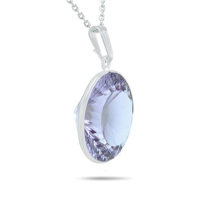 Optic Cut All Natural 18MM Amethyst Drop Pendant in .925 Sterling Silver