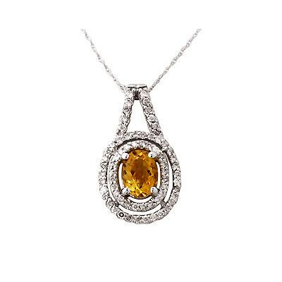 Regal Citrine and Diamond Pendant in 14kt White Gold