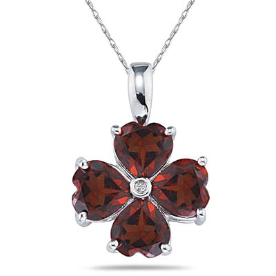 14k White Gold Diamond and Garnet Heart Flower Pendant