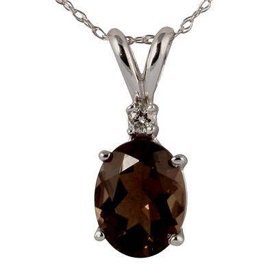 14k White Gold Diamond and Smokey Quartz Pendant