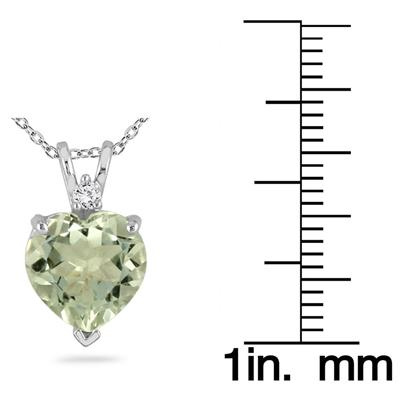 14k White Gold Diamond and Green Amethyst Pendant