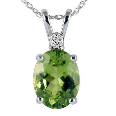 14k White Gold Diamond and  Peridot  Pendant