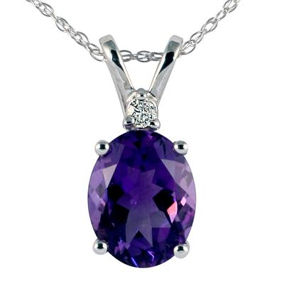 14k White Gold Diamond and Amethyst Pendant