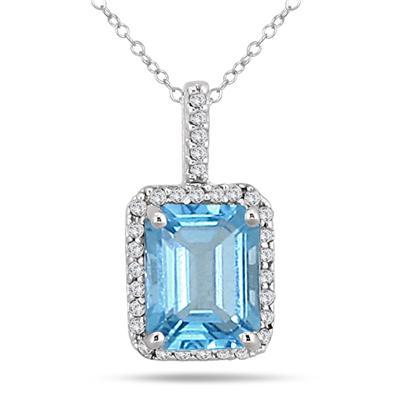 4.50 Carat Blue Topaz and Diamond Pendant in 14K White Gold