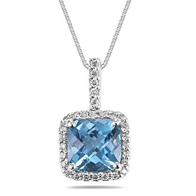 Cushion Cut Blue Topaz and Diamond Pendant in 10K White Gold