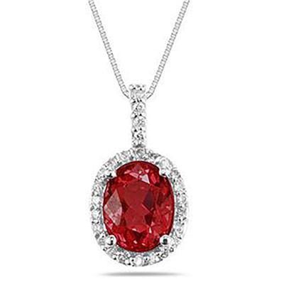 Garnet and Diamond Pendant in 14K White Gold