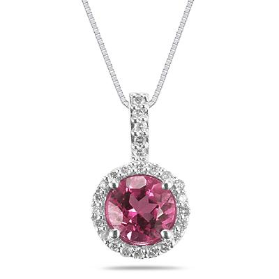 Pink Topaz and Diamond Pendant in 14K White Gold
