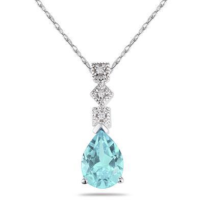 Aquamarine and Diamond Antique Pendant in 14K White Gold