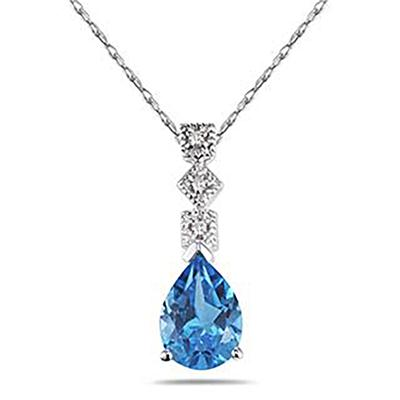 1 Carat Blue Topaz and Diamond Antique Pendant in 14K White Gold