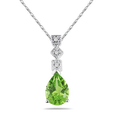 1 Carat Peridot and Diamond Antique Pendant in 14K White Gold
