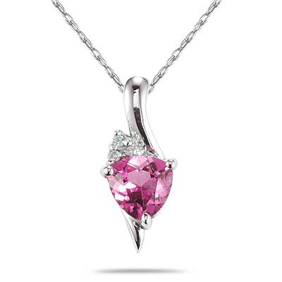 Trillion Shaped Pink Topaz and Diamond Pendant in 14K White Gold
