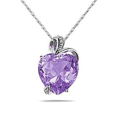3 1/2 Carat Natural Febrauary Birthstone Amethyst and Diamond Heart Pendant in 14K White Gold