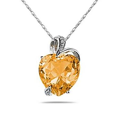 4 3/4 Carat Citrine Heart and Diamond Pendant in 14K White Gold