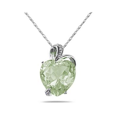 4 3/4 Carat Green Amethyst Heart and Diamond Pendant in 14K White Gold