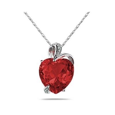 4 3/4 Carat Garnet Heart and Diamond Pendant in 14K White Gold