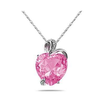 4 3/4 Carat Pink Topaz Heart and Diamond Pendant in 14K White Gold