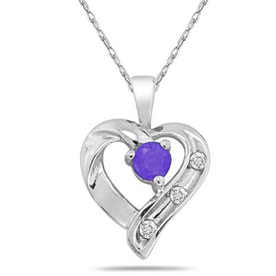 Tanzanite and 3 Stone Diamond Heart Pendant 14kt White Gold