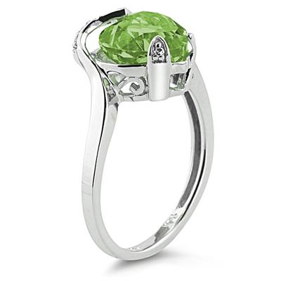 Heart Shaped Peridot and Diamond Heart Ring in 14K White Gold