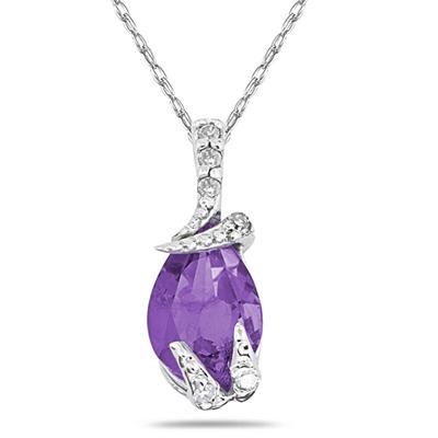 Pear Shaped Amethyst and Diamond Pendant in 10k White Gold