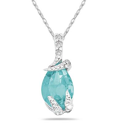 Pear Shaped Aquamarine wand Diamond Pendant in 10k White Gold