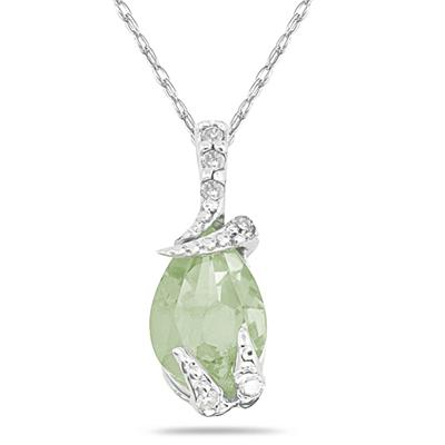 Pear Shaped Green Amethyst and Diamond Pendant in 10k White Gold