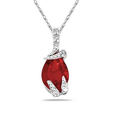 Szul Pear Shaped Ruby and Diamond Pendant in 10k White Gold