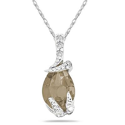 Pear Shaped Smokey Quartz and Diamond Pendant in 10k White Gold